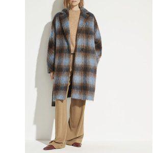 Vince Plaid Print Belt Wool Blend Trench Coat
